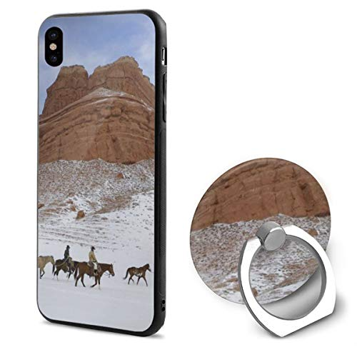 (Horses Cowboys Snow America Wyoming Plateaus Sky IphoneX case with Ring Stand Soft TPU Slim Case Cover for iPhone X)