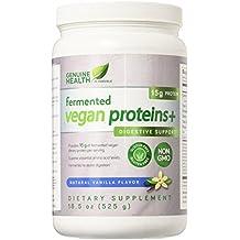 Genuine Health Fermented Vegan Proteins+, Natural Vanilla Flavor, 18.5 oz (525 g)