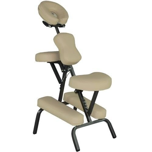 Massage Chair Portable Massage Chairs Tattoo Folding Chairs High-Density Sponge Height Adjustable Face Cradle Light Weight Travel Spa Seat W/Carring Bag (Cream)