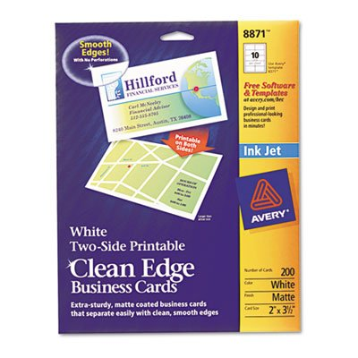 Two-Side Printable Clean Edge Business Cards, Inkjet, 2 x 3-1/2, White, 200/Pack, Total 5 PK, Sold as 1 Carton