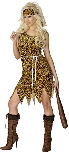 Smiffy's Women's Cavewoman Costume, Dress, Headband and Belt, Caveman, Serious Fun, Size 6-8, (Prehistoric Dress)