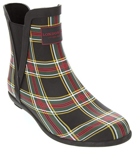 London Fog Womens Piccadilly Rain Boot Red Plaid 9 M US