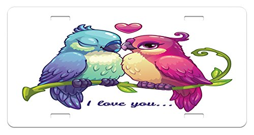 Animal License Plate by Ambesonne, Parrot Couple on the Branch with Heart Symbol Deep Intimate Mutual Feelings Art, High Gloss Aluminum Novelty Plate, 5.88 L X 11.88 W Inches, Pink (Mutual Art)