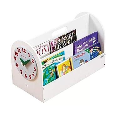 Image of Tidy Books - Portable Kids Bookshelf | Book Box Children | White | Wooden Box with Play Clock | Montessori Materials | 13.8 x 21.7 x 12.2 | ECO Friendly | Handmade | The Original Book Box Baby