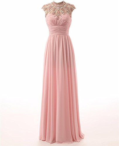 Abendkleider Abiballkleid Lange Changjie High Neck Chiffon Gown Plissee Formal Empire Damen Rosa qY88awX