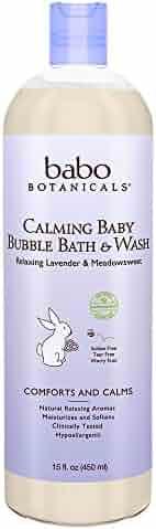 Babo Botanicals Lavender Meadowsweet Calming Baby Bubble Bath & Wash, 15 ounces