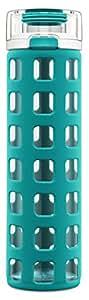Ello Syndicate BPA-Free Glass Water Bottle with Flip Lid, Blue Tide, 20 oz.