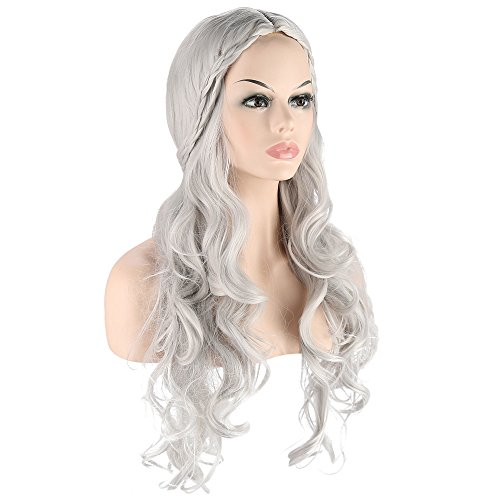 Dragon Princess Game Of Thrones Costume (Long wave curly hair cosplay Wigs for Game of Thrones Daenerys Targaryen khaleesi Long Wavy Wigs games halloween party Costumes Wigs (Silvery Grey))