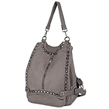 UTO Women Backpack Purse PU Washed Leather Rivet Studded Convertible Ladies Rucksack Shoulder Bag