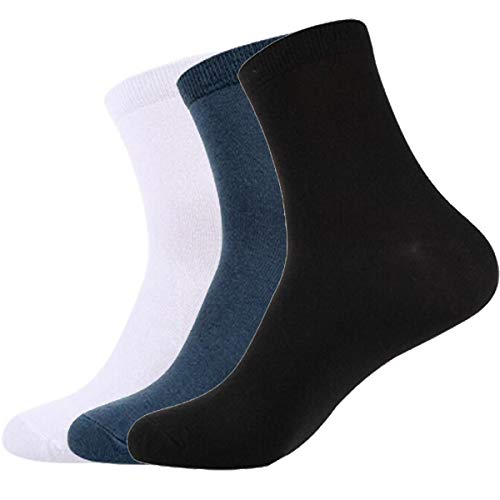 Men's Cotton Basic Socks Classics Dress Trouser Flat Knit Crew Socks 3 Pairs in Pack (Rib Dress Sock Classic)