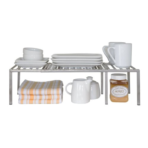 Helper Shelf Cabinet Organizer - Seville Classics Iron Slat Expandable Kitchen Counter and Cabinet Shelf, Satin Pewter