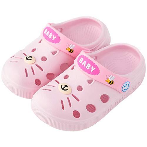 - ❤️ Mealeaf ❤️ Toddler Infant Baby Kids Girl Boys Home Slippers Cartoon Cat Floor Shoes Sandals(Pink,150)