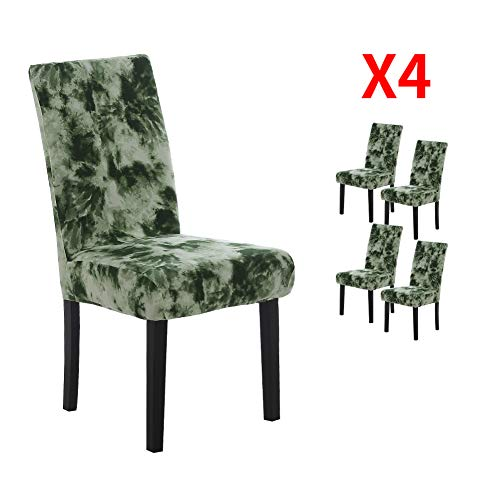 YIMEIS Comfort Stretch Dining Chair Slipcovers, Graffiti Printed Dining Chair Protector, Removable Washable Short Dining Room Chair Seat Covers for Kitchen, Office, Ceremony(Pack of 4, T_Dark Green)
