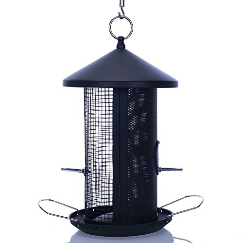 Cottage Garden 12 inch Matte Black Heavy Duty Mesh Metal 3 Lb. Dual Nut and Seed Bird Feeder