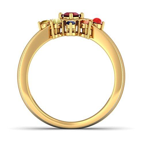 Or jaune 18K, 0,03carat Diamant Blanc (IJ | SI) Rubis et Navaratna et diamant Bague