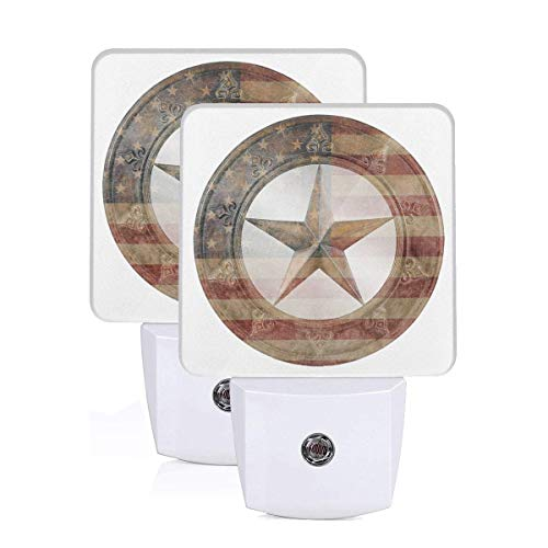 Western Texas Star LED Night Light Lamp Bed Lamp Set of 2 with Dusk to Dawn Sensor