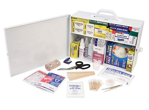 Rapid Care First Aid 80097 2 Shelf All Purpose First Aid Kit Cabinet, Class A+, Exceeded OSHA and ANSI Z308.1 2015, Wall Mountable, Over 750 Pieces