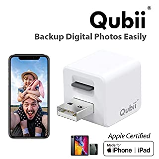 Qubii Photo Storage Device for iPhone & iPad, Auto Backup Photos & Videos, Photo Stick for iPhone, Digital Photos Organizer【microSD Card Not Included】- White