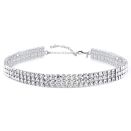 Zealmer Daycindy Silver Clear Rhinestone Choker Necklace for Women