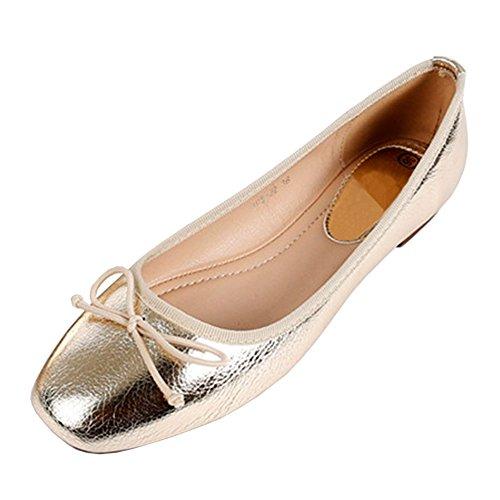Fereshte Da Donna In Pelle Sintetica Comfort Punta Quadrata Balletto Scarpe Da Balletto N ° 72 Oro