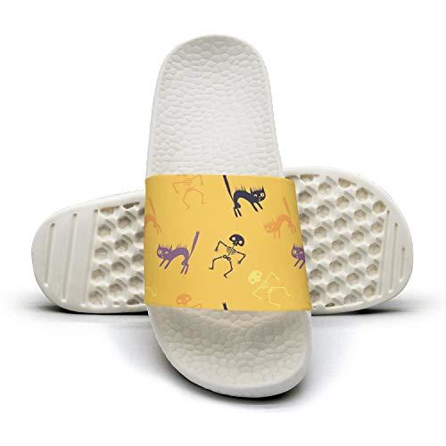 Men's Stylish Slipper Halloween Skeleton Cat Yellowwhite Foam Open Toe Flat Home Sandal]()