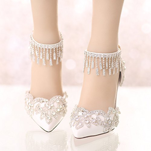 Heels High Fine With Sharp Crystal New Super VIVIOO Summer White Prom Shoes Sandals Heels 6 Wedding TgzqO6