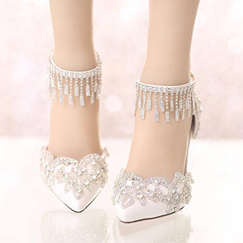 Sharp With VIVIOO Sandals Fine Wedding 4 New White Super Shoes Crystal High Prom Summer Heels Heels xXXqrTP