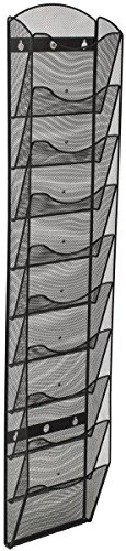 Wall Mount Literature Rack, File Folder Organizer, 10 Dividable Pockets (Black Steel Mesh)