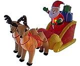 4 Airblown Inflatable Santa, Sleigh & Reindeer Lighted Christmas Yard Art Decor