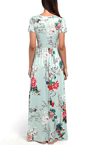Floral Party Turquoise Comila Boho Women's Long Flowy Dress Sleeves Print Split Maxi Short wI0CI7q