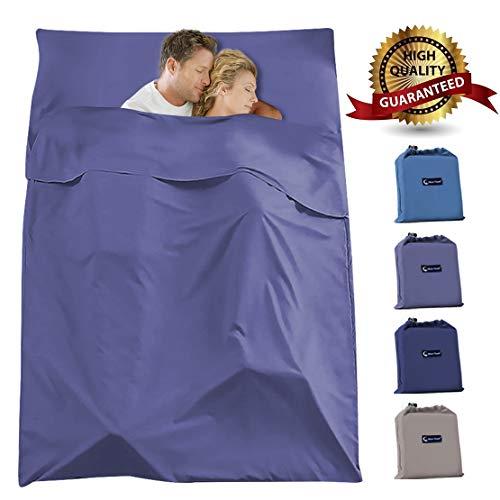 Mojonnie Sleeping Bag Liner, Lightweight Double 2 Person Sleeping Bag for Camping, Backpacking, Hiking, Hotel, Portable Envelope Ultralight Adult Sleep Sack(Gray Purple)