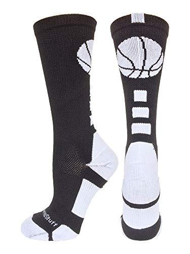 MadSportsStuff Basketball Socks with Basketball Logo Crew Socks (Black/White, X-Large)