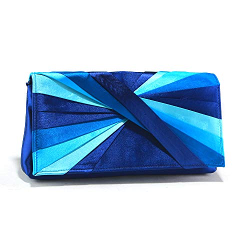 Woman Evening Bag Clutch Purse Multicolor Pleated Satin Party Handbag by MKY (Image #5)