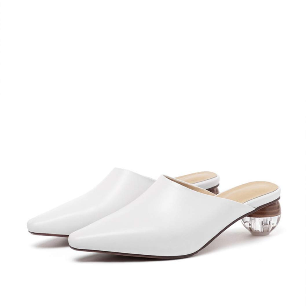 White T-JULY Women Pumps Genuine Leather shoes Slip on Spring Summer Elegant Casual shoes Woman Mules shoes