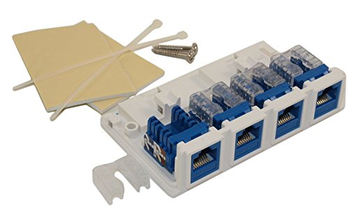 MyCableMart Wall plate: Surface Block (Biscuit Jack) RJ45 4 - Jack Wall Surface