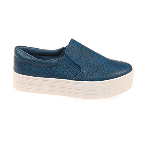 La Modeuse-zapatillas de tipo slip-on A Plataforma de piel sintética, diseño de piel de cocodrilo Azul - azul