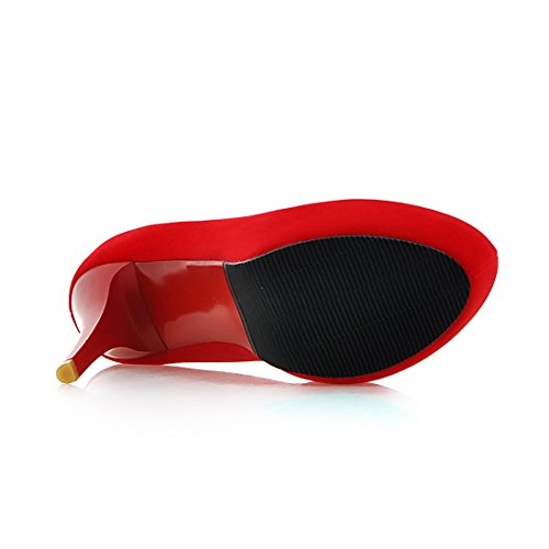 YE Damen Stiletto Pumps Geschlossene High Heels Plateau mit 12cm Absatz Elegant Simple Party Schuhe Rot