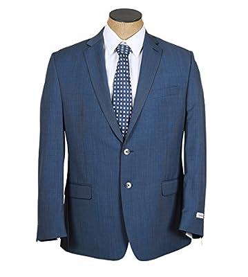Calvin Klein Mens Blue Micro Check Slim Fit Wool Suit