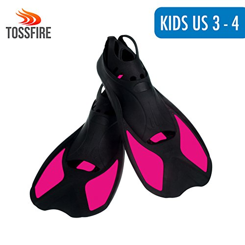 Swim Flippers Short Floating Training Swim Fins for Children Boys Girls Kids 3-4 US Size Ankle Width 2.7 Inch Thermoplastic Rubber Pool Fins for Swimming Diving Scuba Snorkeling Watersports – Rose Red