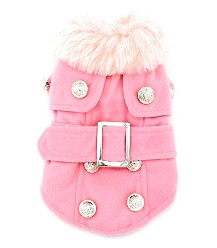 Pet Cat Dog Clothes European Woolen Fur Collar Coat Small Dog Cat Pet Clothes Costume Pink S
