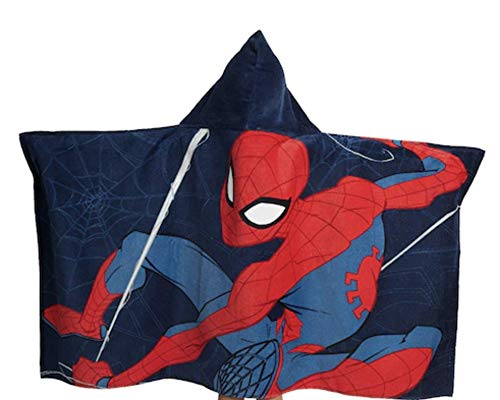 "Jay Franco Marvel Spiderman Web Head Super Soft & Absorbent Kids Hooded Bath/Pool/Beach Towel - Fade Resistant Cotton Terry Towel 22.5"" Inch x 51"" Inch (Official Marvel Product)"