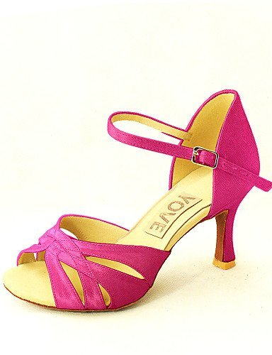 Latin Customizable Yellow Purple Salsa Fuchsia Customized White Blue Shoes Satin Women's Dance ShangYi Pink Heel Red Black Yellow OIwxdPXqI