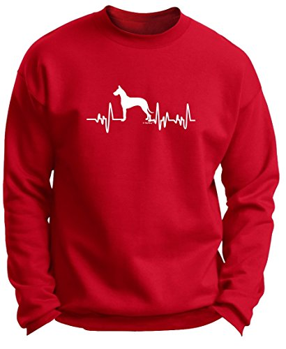 Great Dane Crewneck Sweatshirt (Great Dane Gifts for Women Great Dane Gifts Dog Lover Heartbeat Great Dane Premium Crewneck Sweatshirt XL DpRed)
