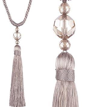 one pair of jones interiors taupe pixi rope tassel designer curtain tie backs