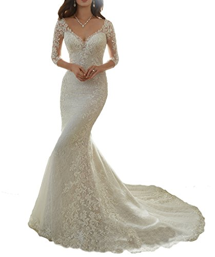 Cardol Flower Appliques Mermaid Half Sleeves Lace Wedding Dresses Bridal Wedding Gowns