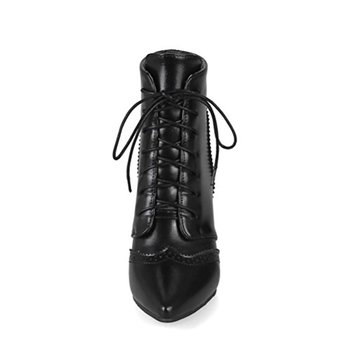 Agodor Ankle Retro Pointed Womens Stiletto Heels High Black Toe Shoes Lace up Boots 1AC1rH