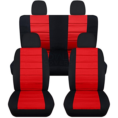 Totally Covers Fits 2012-2018 Volkswagen New Beetle/Bug A5 Seat Covers: Black & Red - Full Set Front & Rear (23 Colors) Split Bench Buckets Airbag 2013 2014 2015 2016 2017 VW