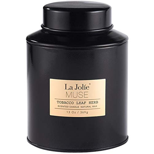 LA JOLIE MUSE Scented Candle Tobacco Leaf Herb - 13Oz Natural Soy Wax Sweet Home Fragrance in Large Tin