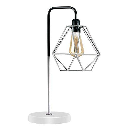 Diamond Cage Desk Lamp, Motent Modern Pyramid Birdcage Metal Table Light, Antique Iron Wrought Bracket Stand, Industrial Steampunk Desk Accent Lamp, Vintage Lampshade for Loft Parlor Cafe - 056 Silver