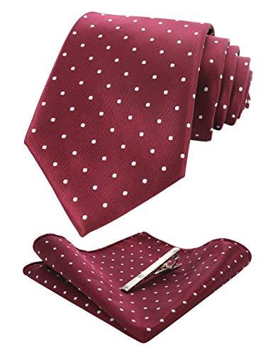 - JEMYGINS Dot Burgundy Tie and Pocket Square Hankerchief Mens Silk Necktie with Tie Clip Sets(3)